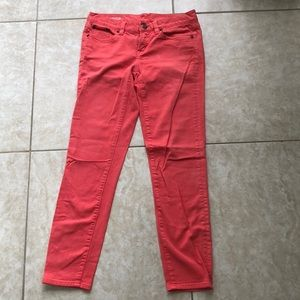 J. Crew Ankle Toothpick Jeans Pink/Coral Size 25